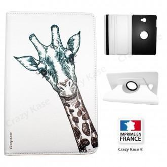Etui Galaxy Tab A 10.1 (2016) Rotatif 360° Blanc motif Tête de Girafe - Crazy Kase