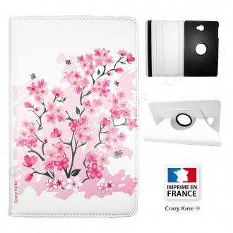 Etui Galaxy Tab A 10.1 (2016) Rotatif 360° Blanc motif Fleurs de Sakura - Crazy Kase