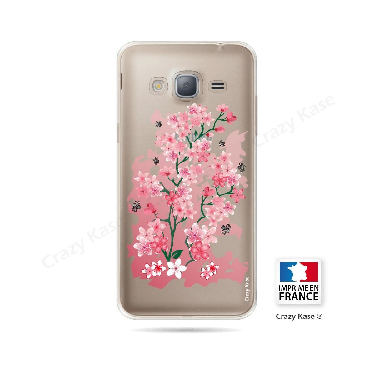 Coque Galaxy J3 (2016) Transparente et souple motif Fleurs de Cerisier - Crazy Kase