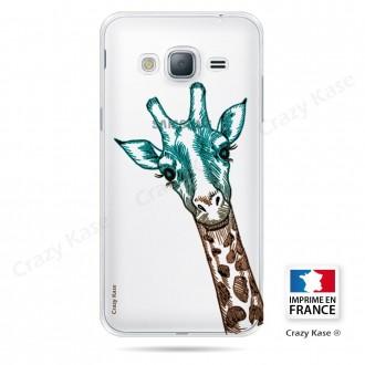 Coque Galaxy J3 (2016) Transparente et souple motif Tête de Girafe - Crazy Kase