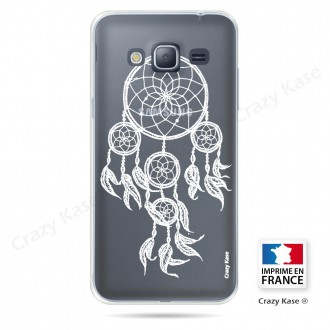 Coque Galaxy J3 (2016) Transparente et souple motif Attrape Rêves Blanc - Crazy Kase