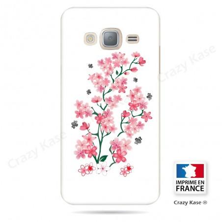 Coque Galaxy J3 (2016) souple motif Fleurs de Sakura sur fond blanc - Crazy Kase