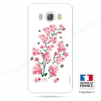 Coque Galaxy J5 (2016) souple motif Fleurs de Sakura sur fond blanc - Crazy Kase