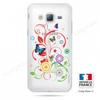 Coque Galaxy Grand Prime Transparente souple motif Papillons et Cercles - Crazy Kase