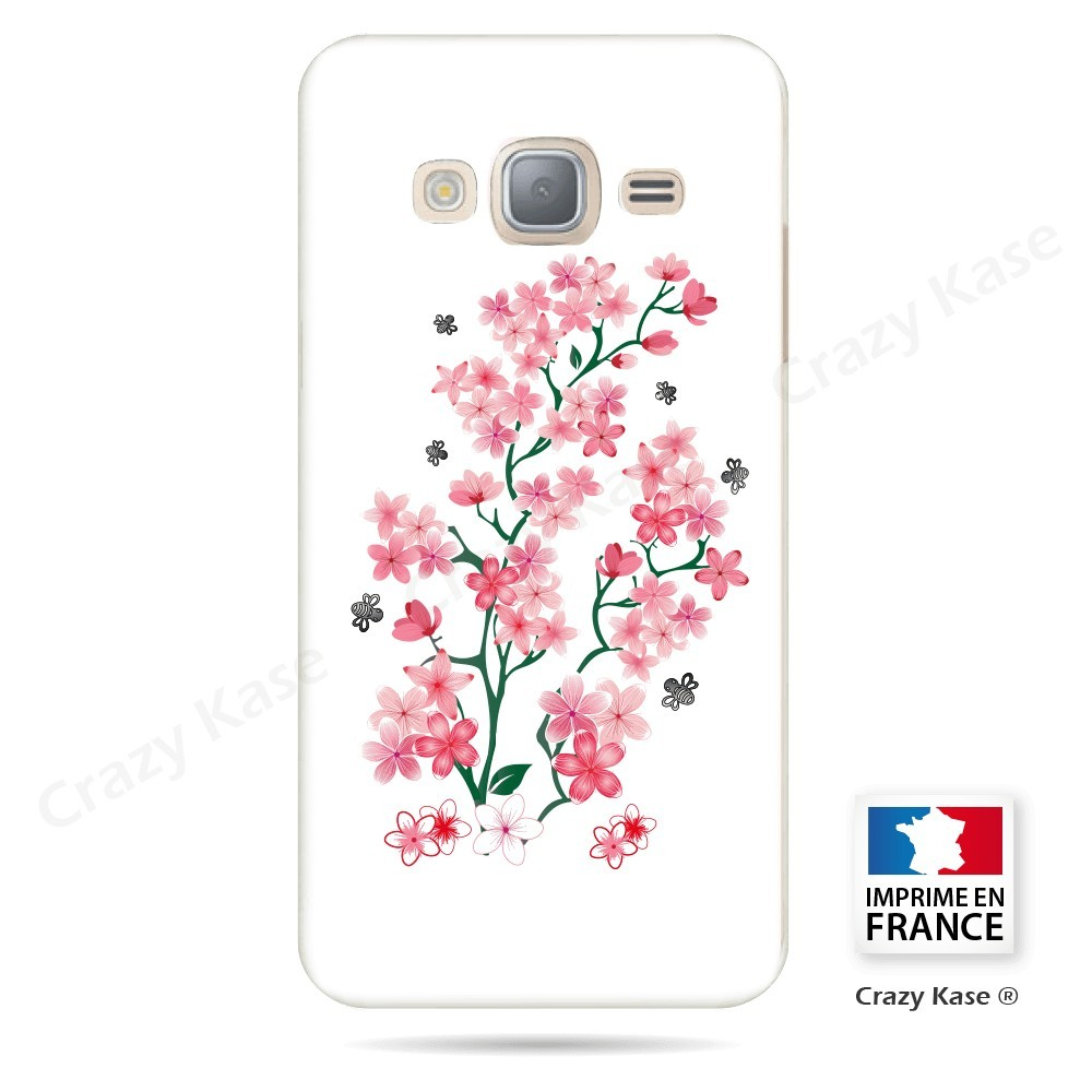 Coque Galaxy Grand Prime motif Fleurs de Sakura sur fond blanc - Crazy Kase