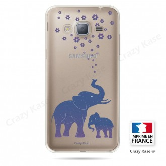 Coque Galaxy Grand Prime Transparente et souple motif Eléphant Bleu - Crazy Kase