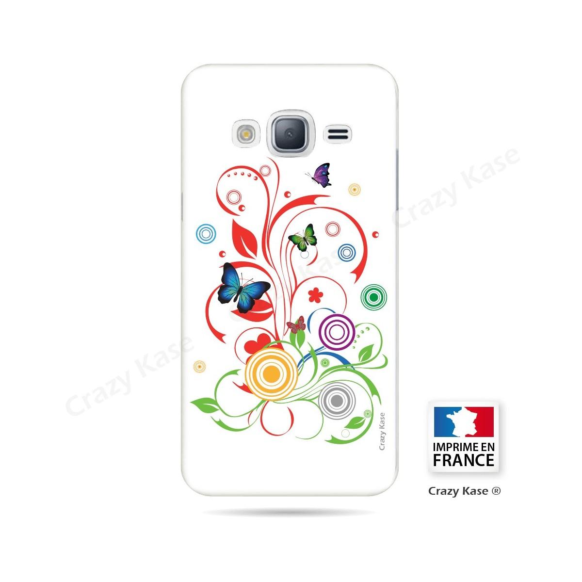 Coque Galaxy Core Prime motif Papillons et Cercles sur fond blanc - Crazy Kase