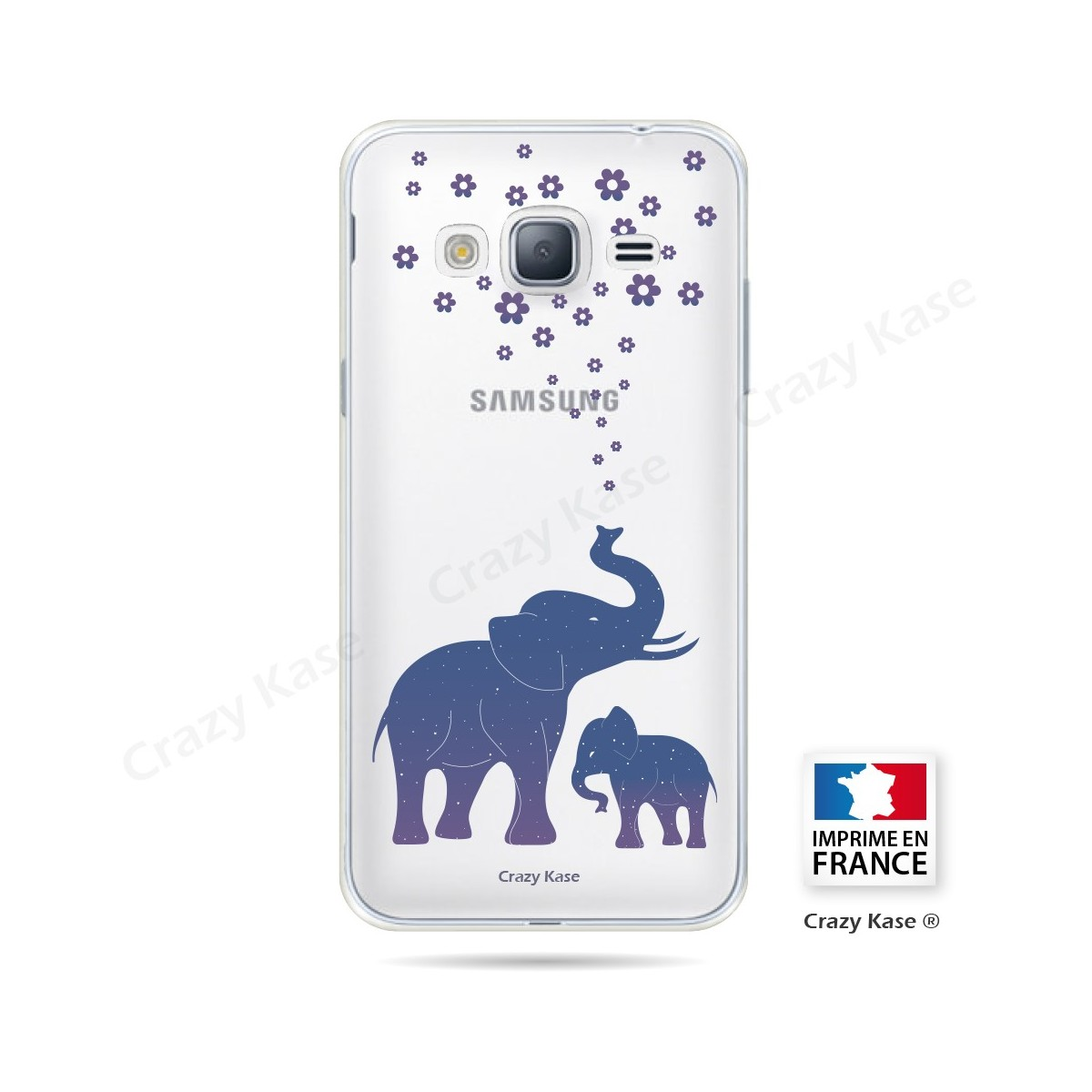 Coque Galaxy Core Prime Transparente souple motif Eléphant Bleu - Crazy Kase