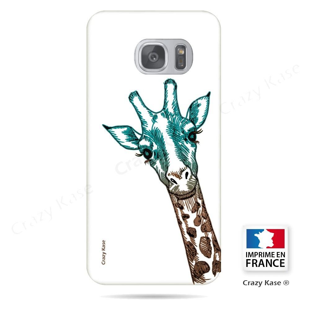 Coque Galaxy S7 souple motif Tête de Girafe sur fond blanc - Crazy Kase