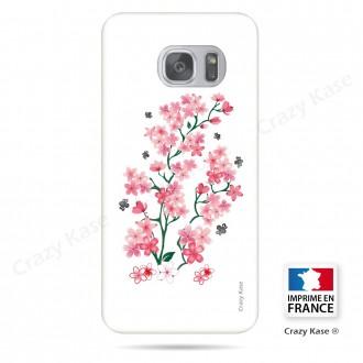 Coque Galaxy S7 souple motif Fleurs de Sakura sur fond blanc - Crazy Kase