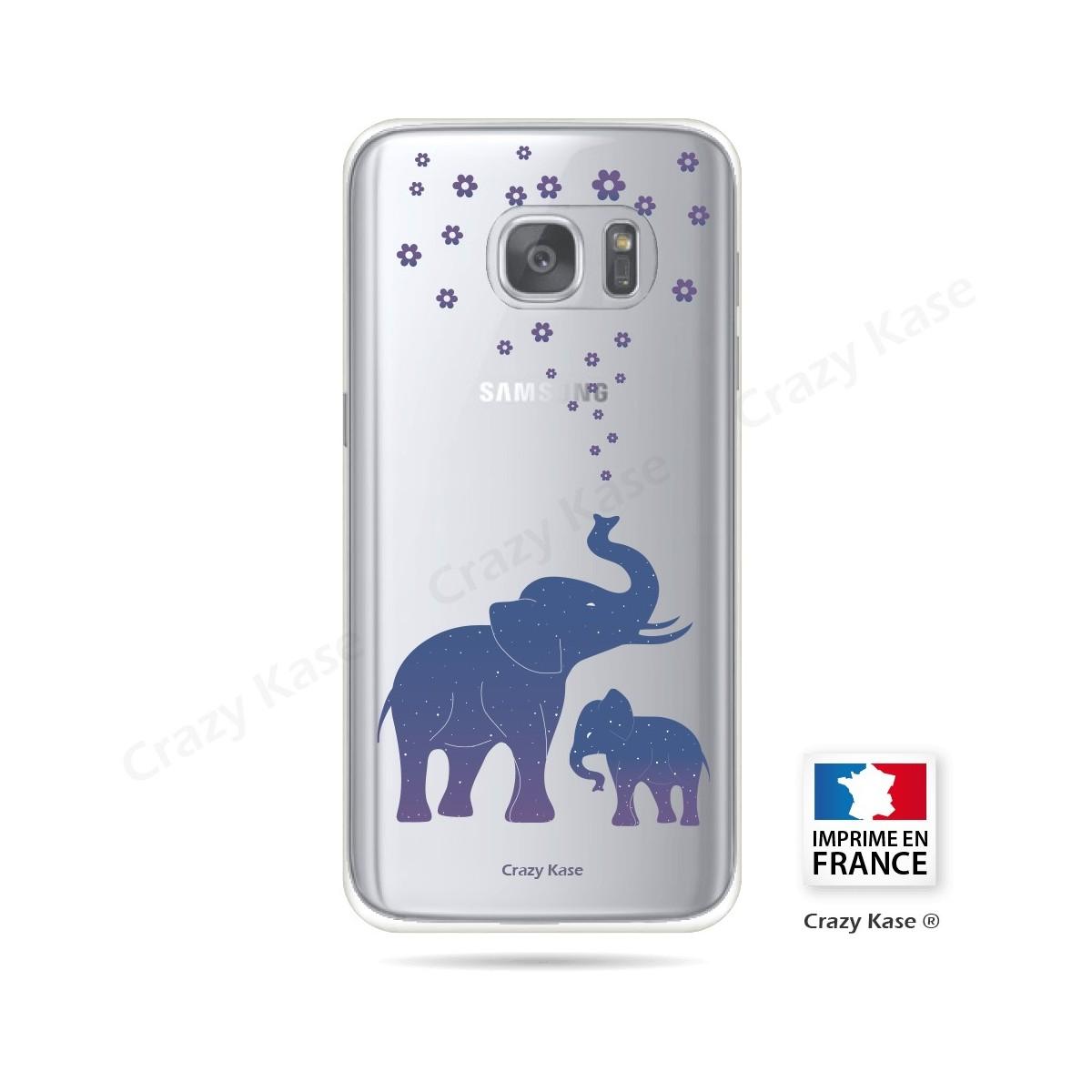 Coque Galaxy S7 Transparente et souple motif Eléphant Bleu - Crazy Kase