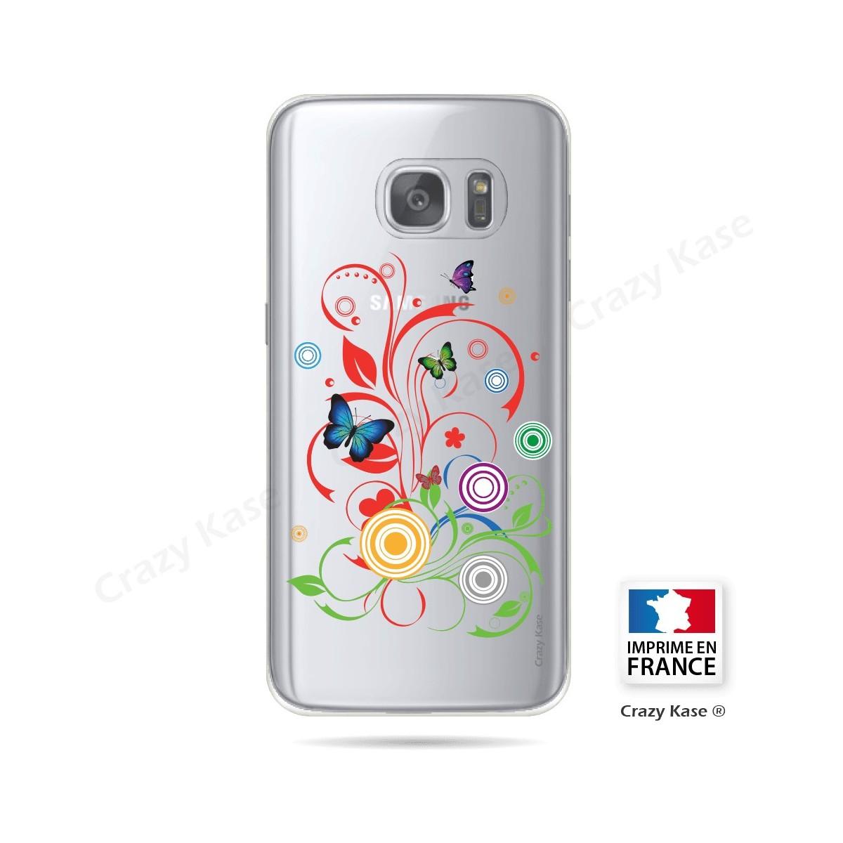 Coque Galaxy S7 Transparente et souple motif Papillons et Cercles - Crazy Kase