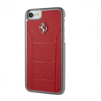 Coque iPhone 8 / 7 en cuir véritable rouge - Ferrari