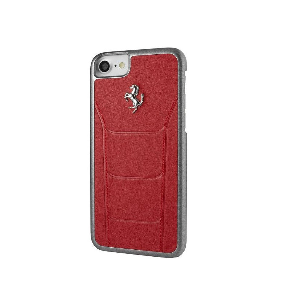 coque iphone 8 7 en cuir v ritable rouge ferrari. Black Bedroom Furniture Sets. Home Design Ideas