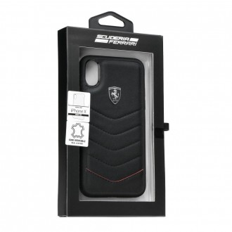 Coque iPhone X en cuir véritable noir - Ferrari