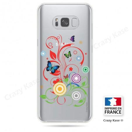 Coque Galaxy S8 Transparente et souple motif Papilons et Cercles - Crazy Kase