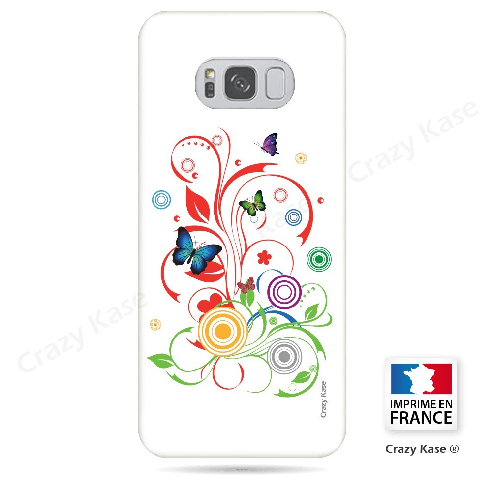 Coque Galaxy S8 souple motif Papillons et Cercles sur fond blanc - Crazy Kase