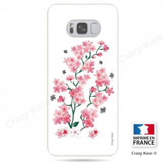 Coque Galaxy S8 souple motif Fleurs de Sakura sur fond blanc - Crazy Kase