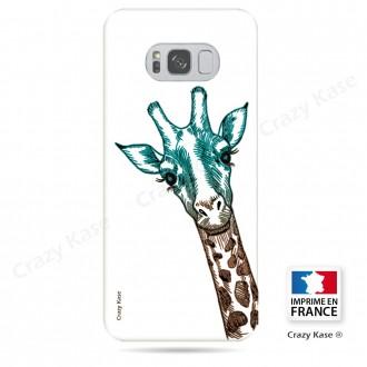 Coque Galaxy S8 souple motif Tête de Girafe sur fond blanc - Crazy Kase