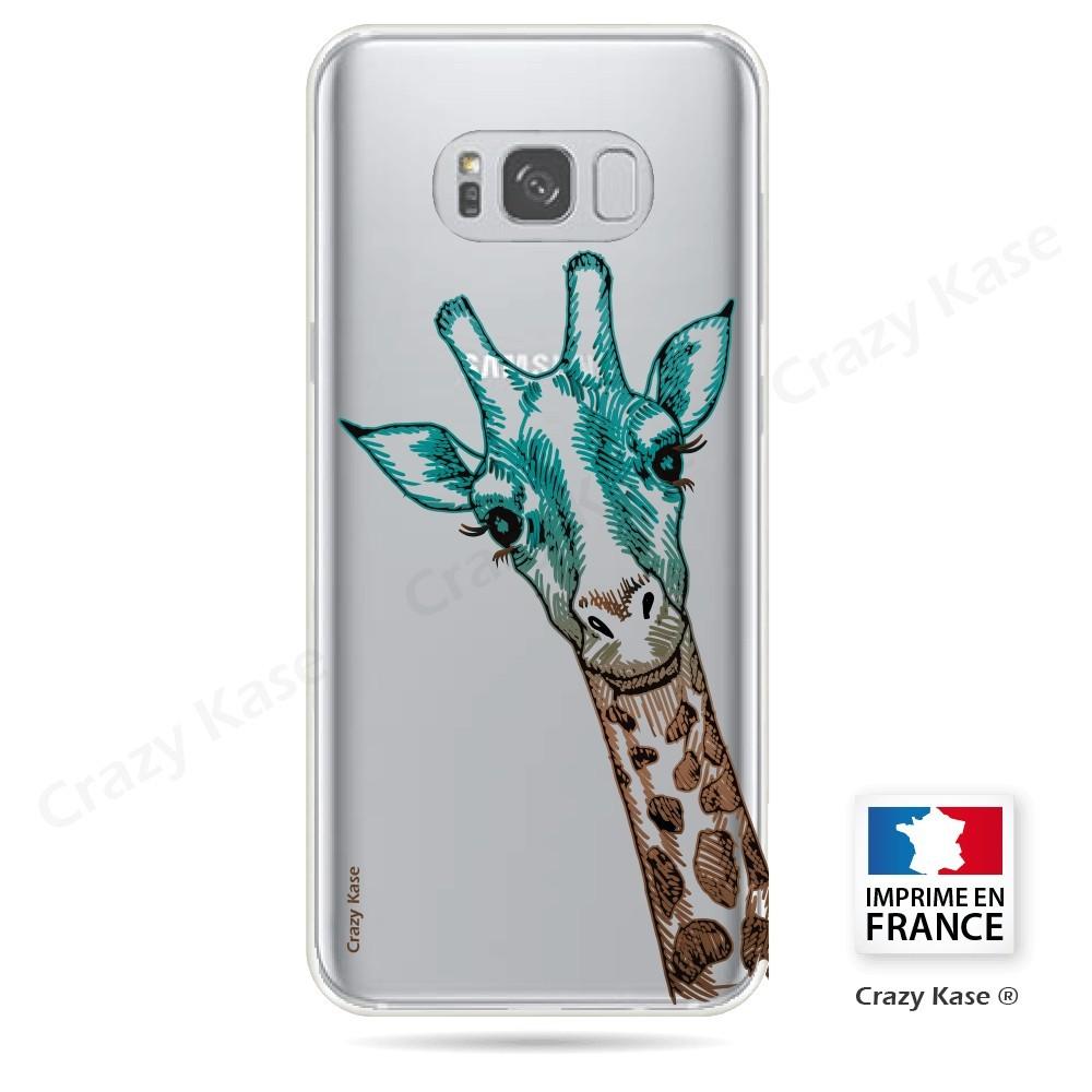 Coque Galaxy S8 Transparente et souple motif Tête de Girafe - Crazy Kase