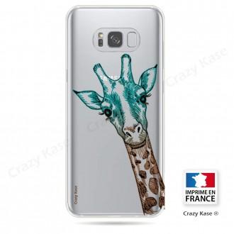 Coque Galaxy S8 Plus Transparente et souple motif Tête de Girafe - Crazy Kase