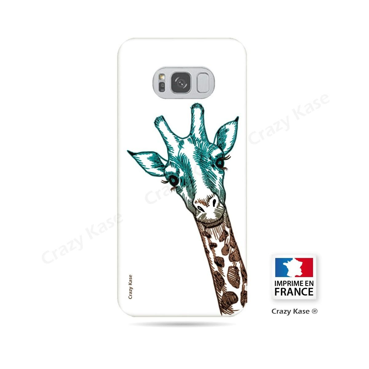 Coque Galaxy S8 Plus souple motif Tête de Girafe sur fond blanc - Crazy Kase