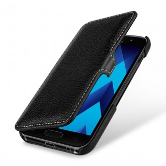 Etui Galaxy A5 (2017) book type noir en cuir véritable - Stilgut