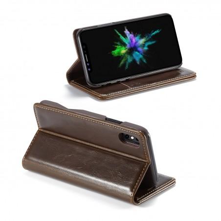 Etui iPhone X Porte-carte Marron - CaseMe