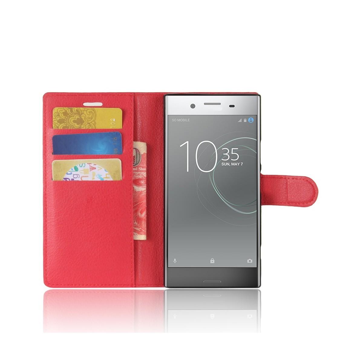 Etui Xperia XZ1 Porte cartes Rouge - Crazy Kase