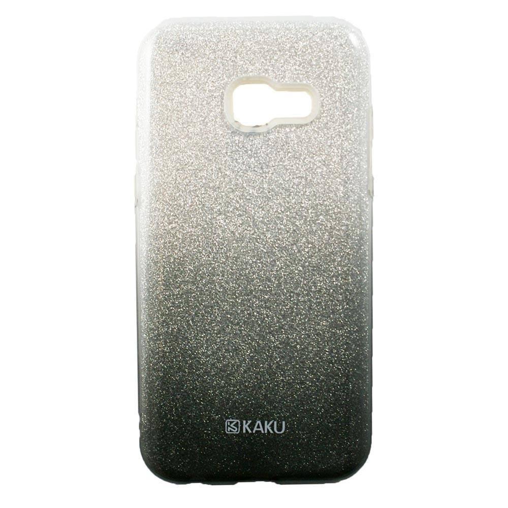 Coque Galaxy A3 (2017) à paillettes noires et argentées - Kaku