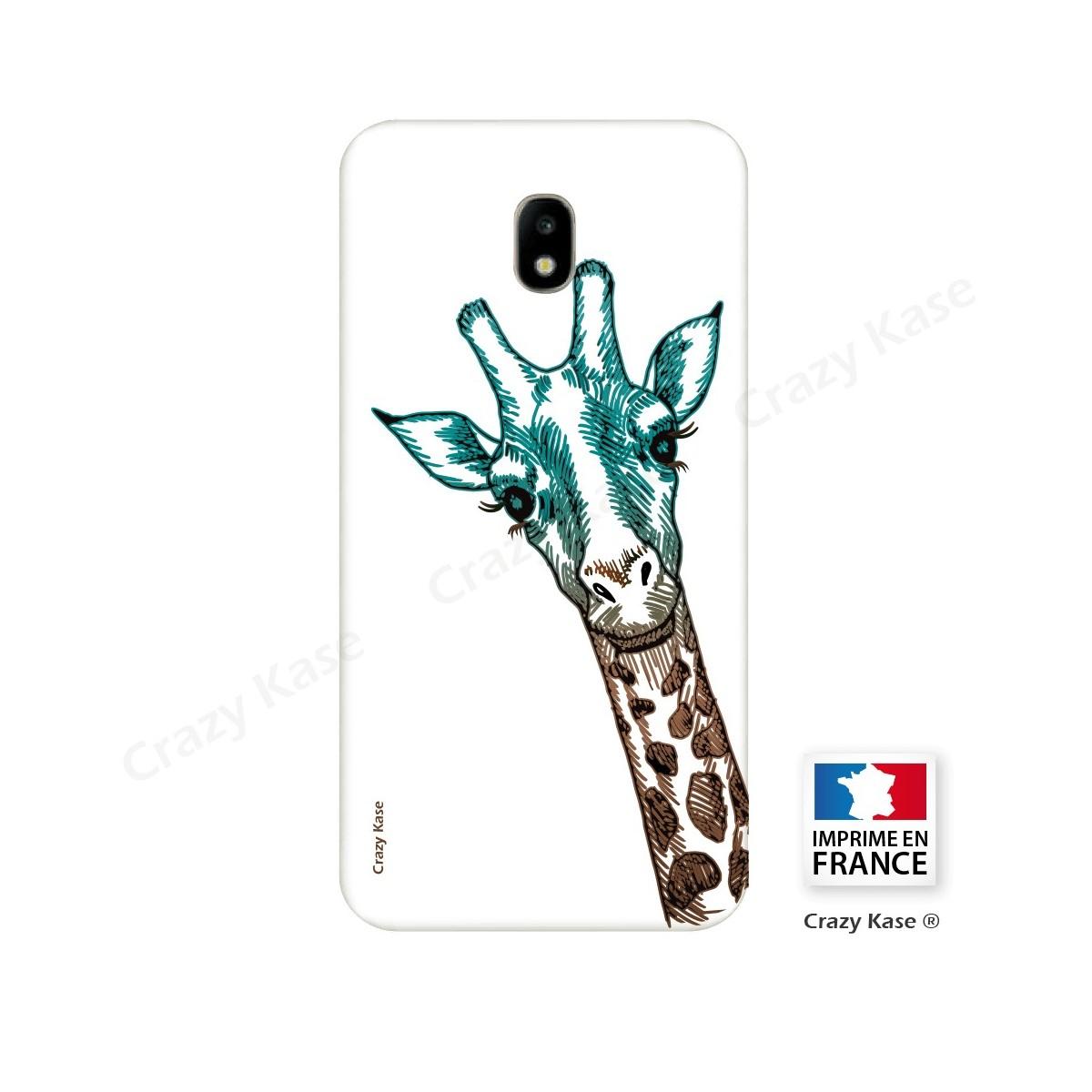 Coque Galaxy J5 (2017) souple motif Tête de Girafe sur fond blanc - Crazy Kase