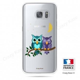 Coque Galaxy S7 Edge souple motif chouettes au clair de lune - Crazy Kase