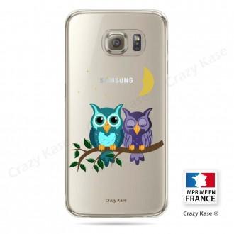 Coque Galaxy S6 Edge souple motif chouettes au clair de lune - Crazy Kase
