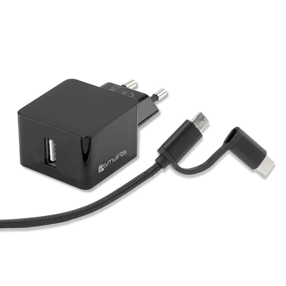 chargeur secteur usb 12w cable usb type c et micro usb 1. Black Bedroom Furniture Sets. Home Design Ideas