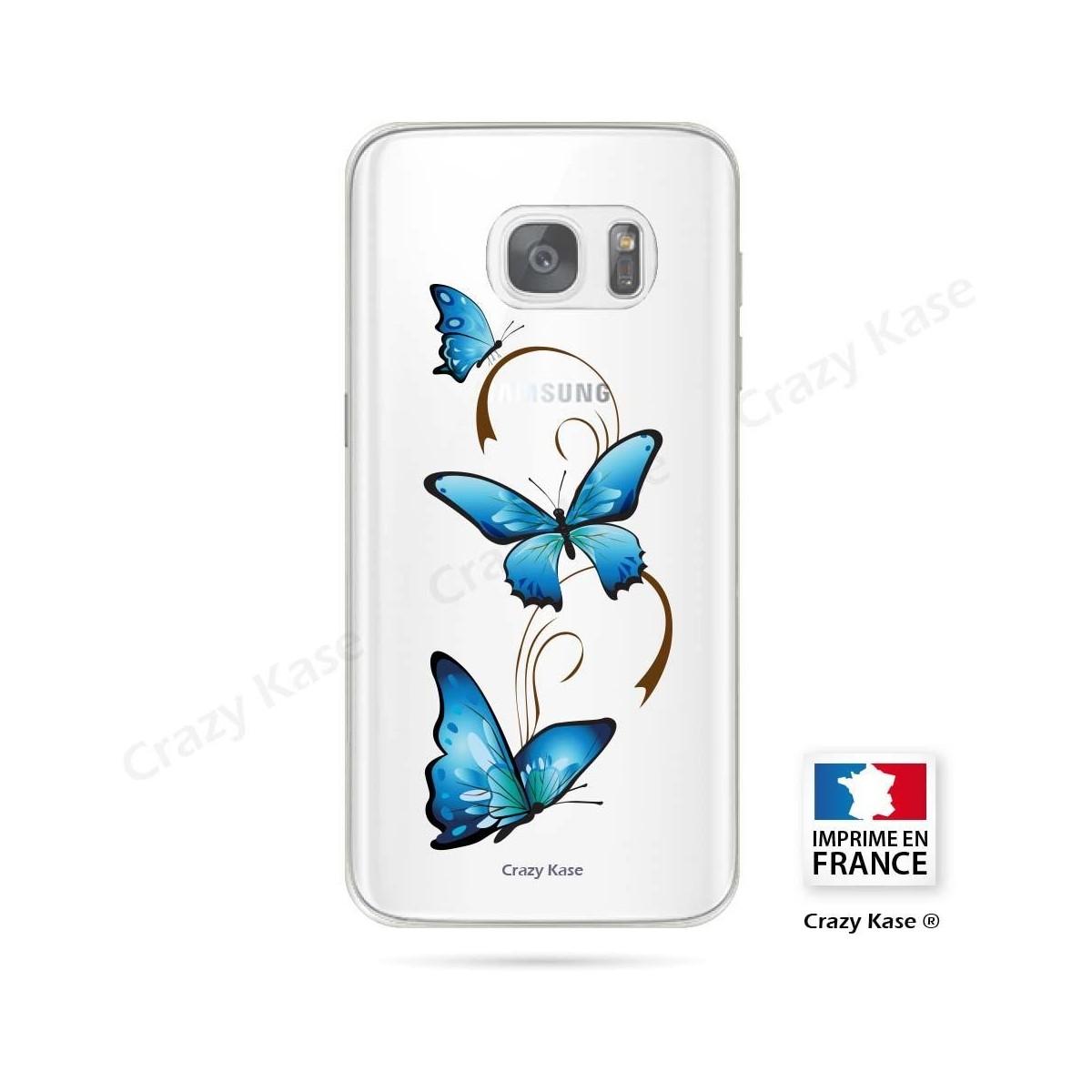 Coque Galaxy S7 Edge souple motif Papillon sur Arabesque - Crazy Kase