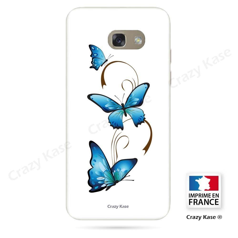 Coque Galaxy A5 (2017) souple motif Papillon et Arabesque sur fond blanc - Crazy Kase