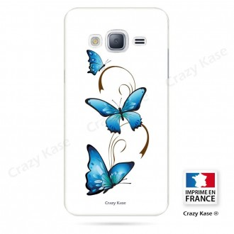 Coque Galaxy Grand Prime souple motif Papillon et Arabesque sur fond blanc - Crazy Kase
