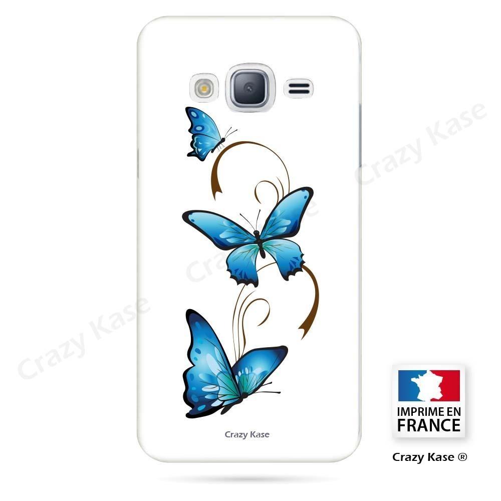 Coque Galaxy J3 (2016) souple motif Papillon et Arabesque sur fond blanc - Crazy Kase