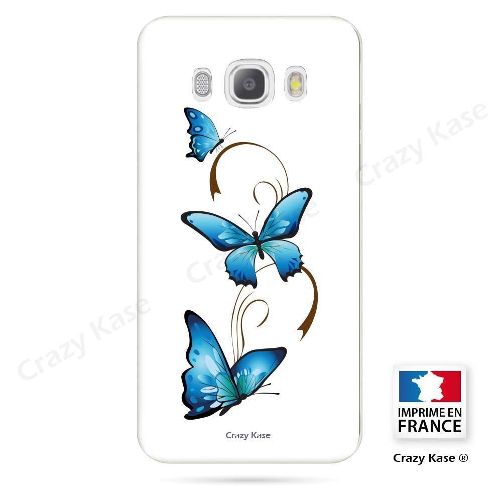 Coque Galaxy J5 (2016) souple motif Papillon et Arabesque sur fond blanc - Crazy Kase