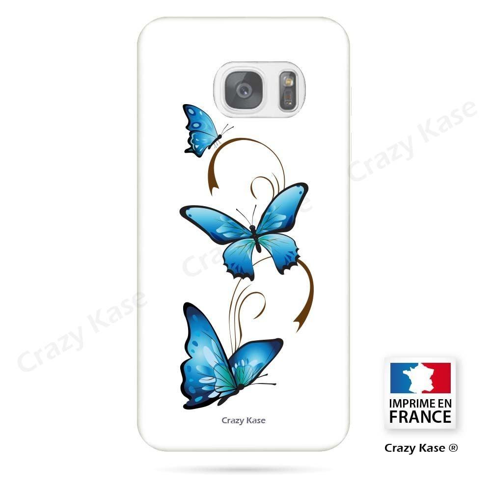 Coque Galaxy S7 Edge souple motif Papillon et Arabesque sur fond blanc - Crazy Kase
