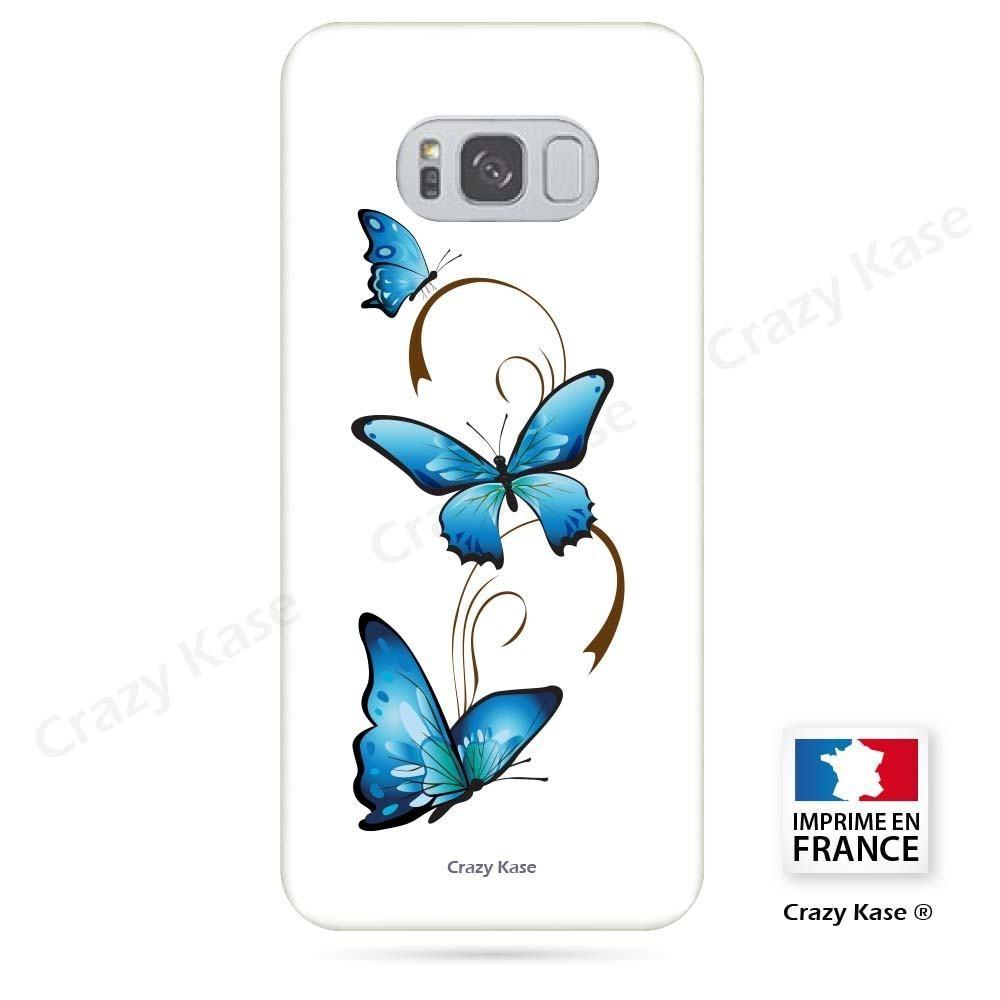 Coque Galaxy S8 souple motif Papillon et Arabesque sur fond blanc - Crazy Kase