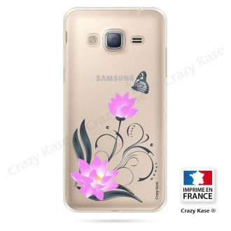 Coque Galaxy Core Prime souple motif Fleur de lotus et papillon- Crazy Kase