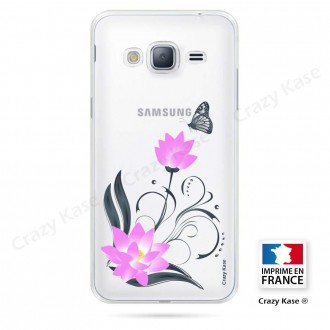 Coque Galaxy J3 (2016) souple motif Fleur de lotus et papillon- Crazy Kase