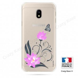 Coque Galaxy J3 (2017) souple motif Fleur de lotus et papillon- Crazy Kase