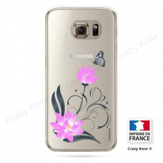 Coque Galaxy S6 souple motif Fleur de lotus et papillon- Crazy Kase