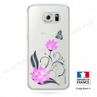 Coque Galaxy S6 Edge souple motif Fleur de lotus et papillon- Crazy Kase