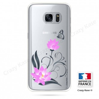 Coque Galaxy S7 souple motif Fleur de lotus et papillon- Crazy Kase