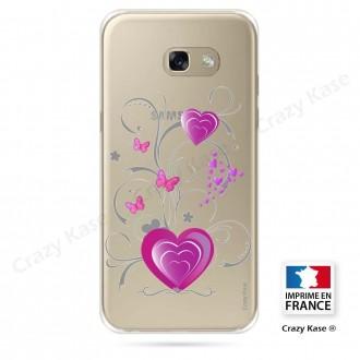 Coque Galaxy A3 (2016) souple motif Cœur et papillon - Crazy Kase