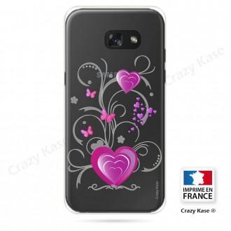 Coque Galaxy A3 (2017) souple motif Cœur et papillon - Crazy Kase