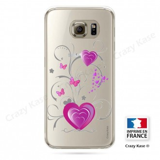 Coque Galaxy S6 souple motif Cœur et papillon - Crazy Kase